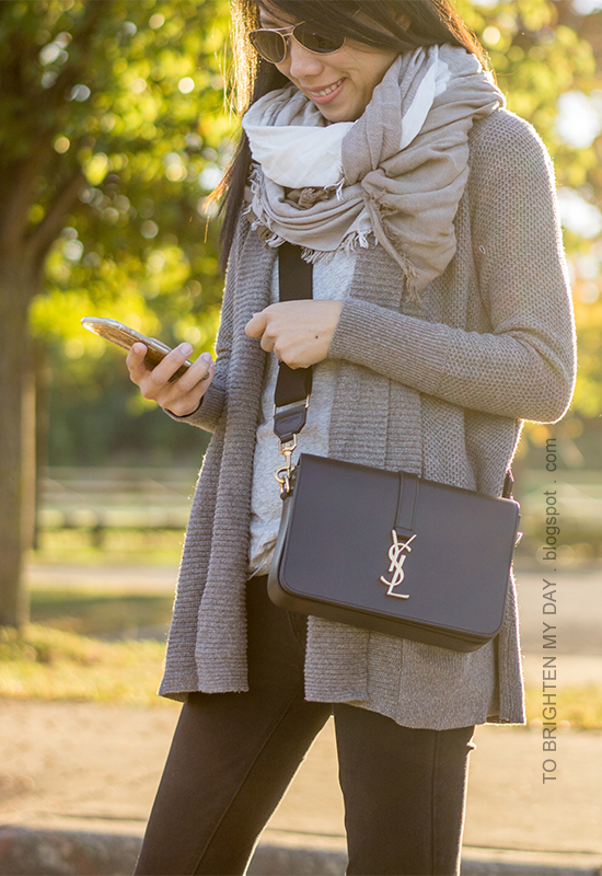 plaid square scarf, taupe gray shawl open cardigan, gray tee, black skinny jeans, black crossbody bag