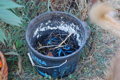 Reciclaje bote de plástico como cubo