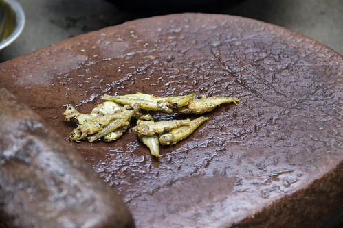 Fried Mola on a grinding stone in Rangpur, Bangladesh. Photo By Holly Holmes