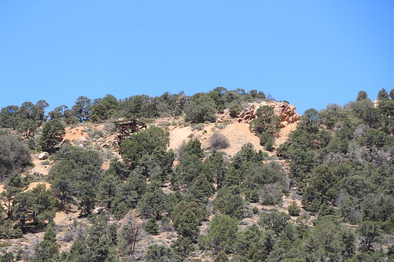 Zoomed-in view of the Doble Mine ruins from the PCT near Holcomb Valley Road