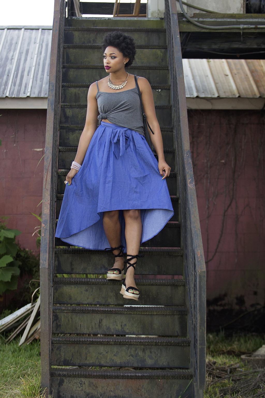 how to wear a denim maxi skirt, candace hampton