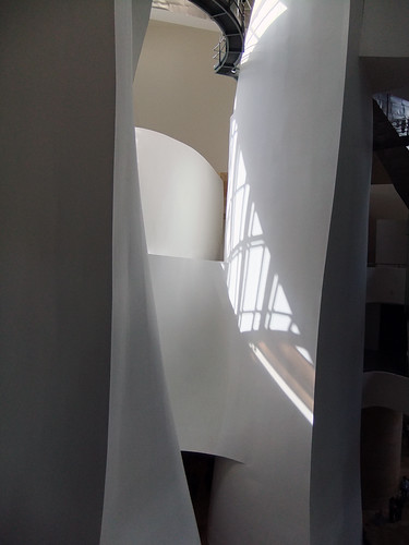 The interior space of Frank Gehry's architectural masterpiece, the Guggenheim modern art museum in Bilbao, Spain