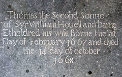 Borne the last day of February 1667 and died the 14th day of October 1668