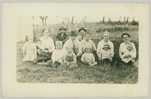 Group sitting on grass