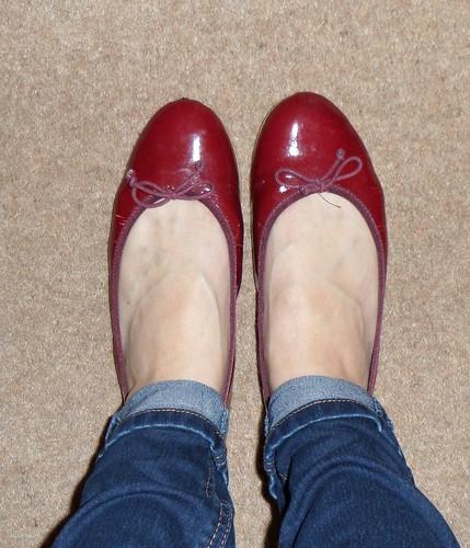 Georgia Rose burgundy patent flat shoes