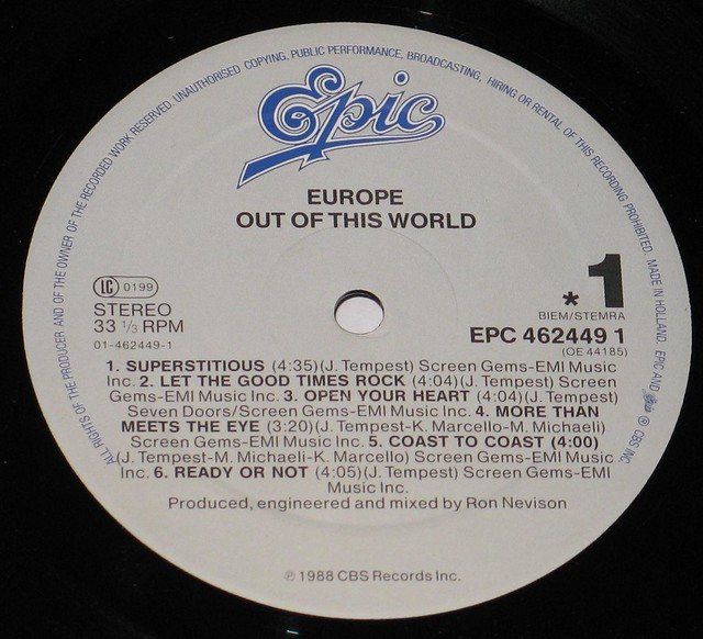 "Europe - Out of this World 12"" vinyl LP"