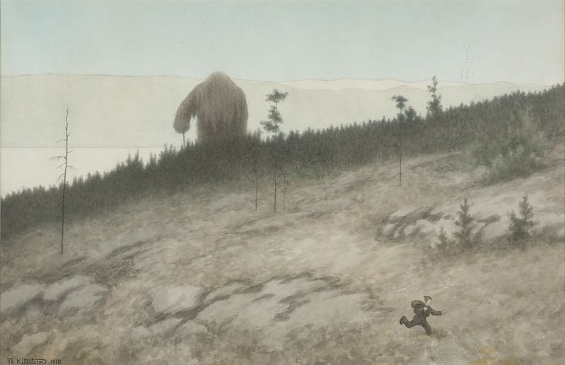 Theodor Kittelsen - The Ash Lad and the Troll , 1910