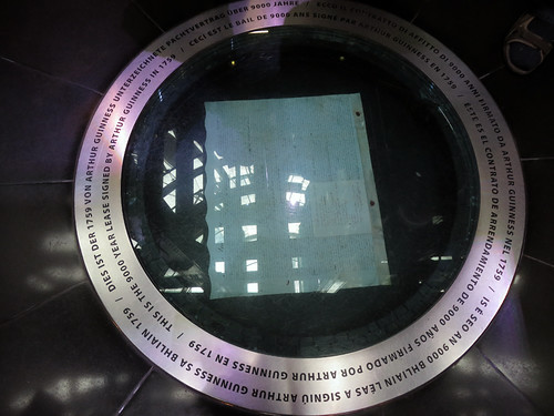 The 9000 year lease Guinness received from the government is sealed in a case in the floor (Guinness Storehouse at St. James's Gate Brewery in Dublin, Ireland)