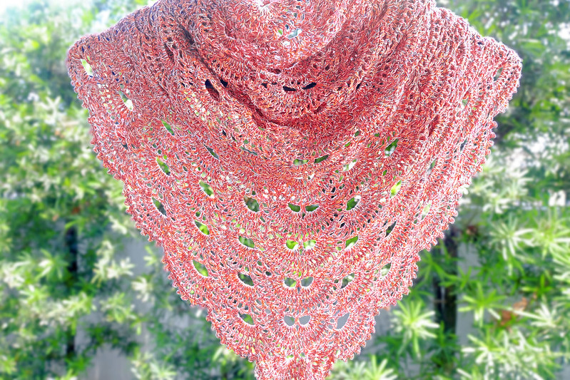 Sundae Scoops Elaine Valerie Ramos crochet Virus shawl using Sugar Free