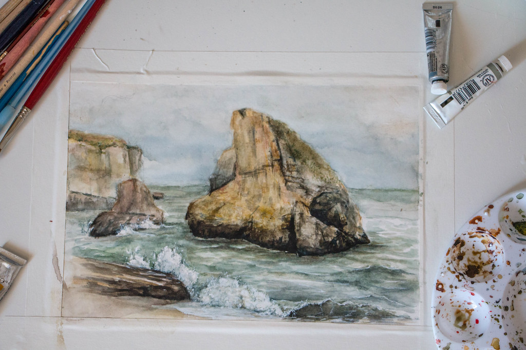 Shark Fin Cove. Watercolor, July 2016