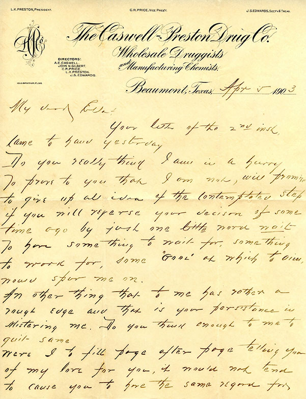 Letter from Lewis Preston to Ella Bachman, 1903 April 5
