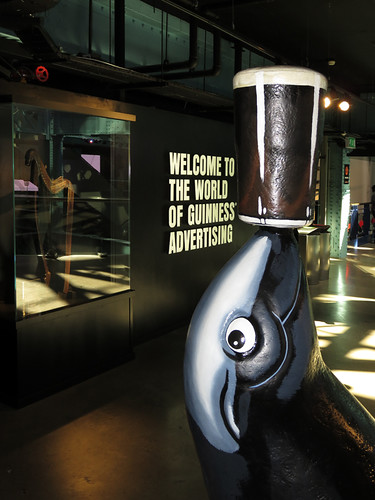 The history of Guinness beer advertising in the Guinness Storehouse at St. James's Gate Brewery in Dublin, Ireland