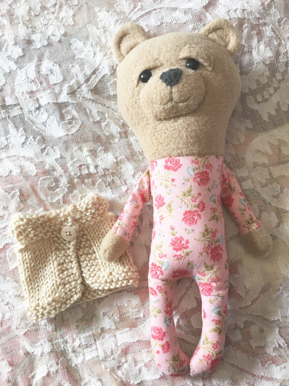 homemade stuffed bear with pink floral pajamas