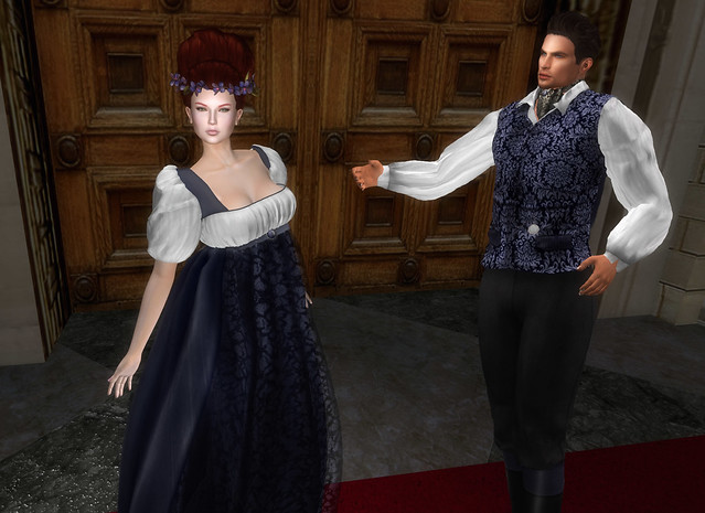The White Armory, Divine Regency gown Midnight and the Earl of Regent doublet midnight