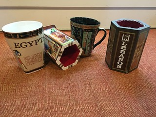 Souvenirs from Egypt and Lebanon, coffee and pen cups