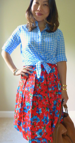 blue gingham + red floral