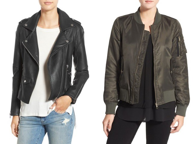 moto and bomber jackets for under $100 at Nordstrom