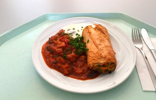 Vegetable strudel with yogurt dip & ratatouille vegetables / Gemüsestrudel mit Joghurtdip & Ratatouillegemüse