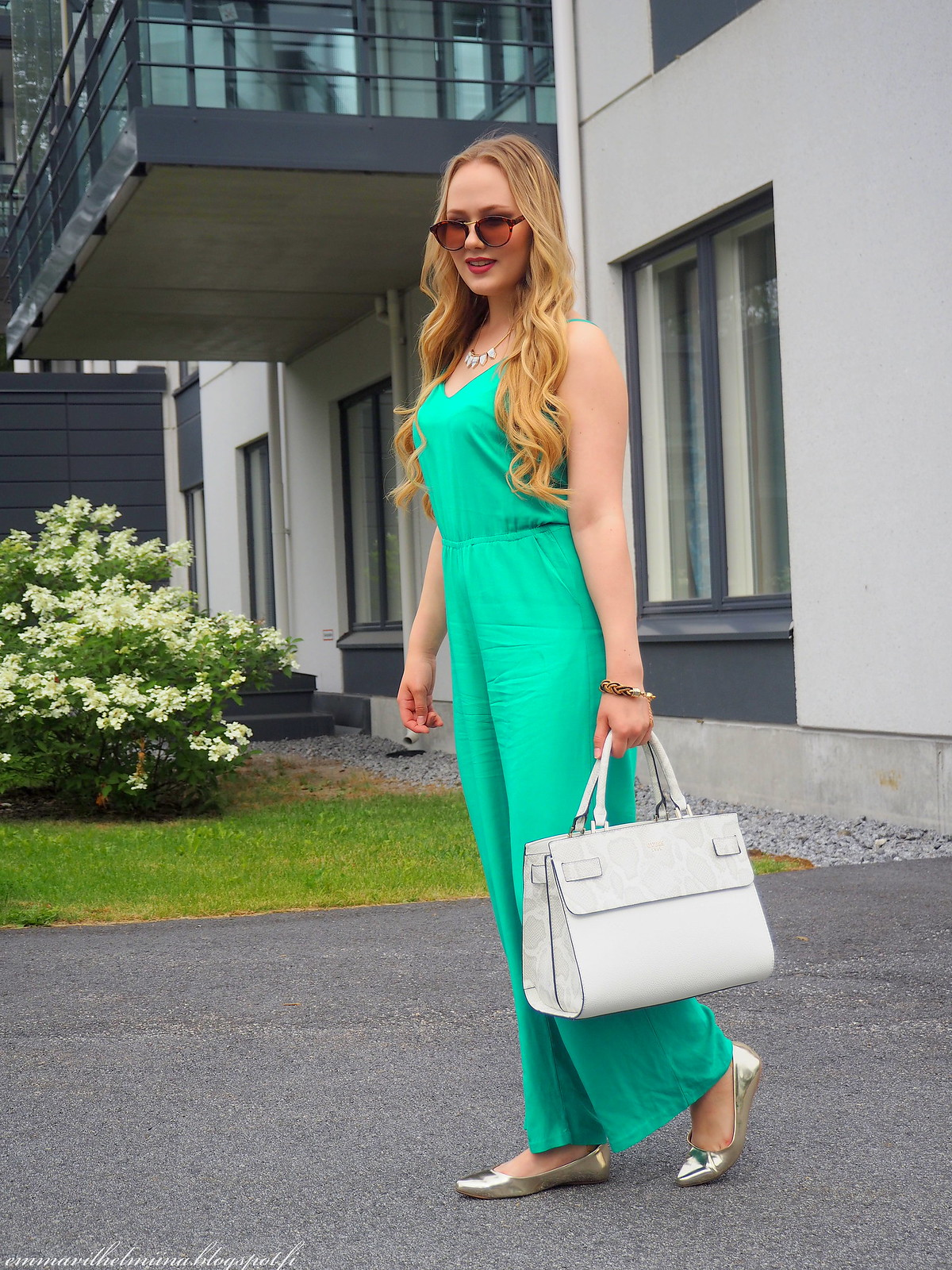 outfit smaragd green jumpsuit