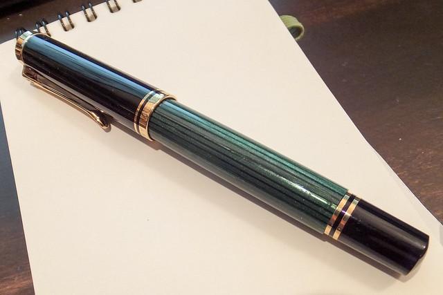 ペリカン 万年筆 EF 極細字 緑縞 スーベレーン M400