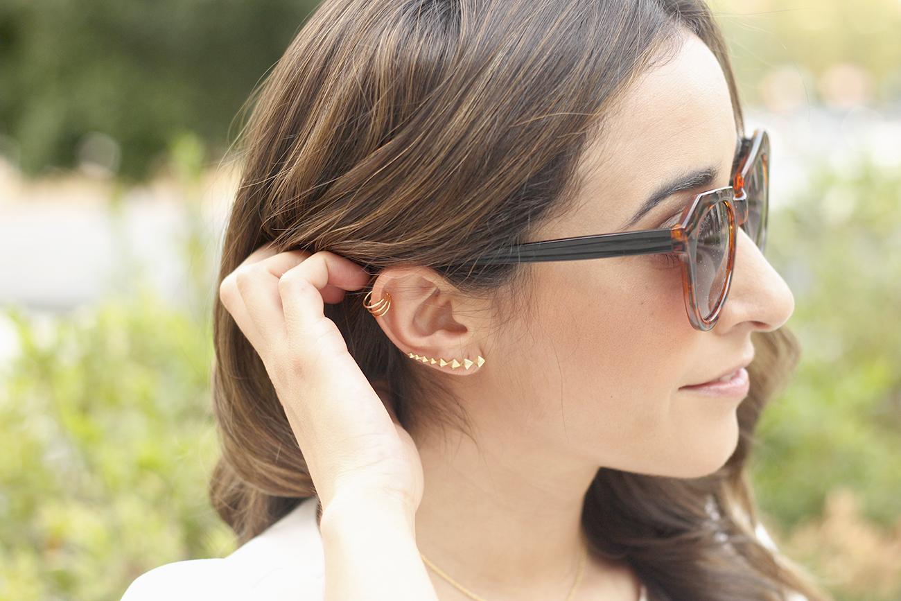 White blouse jeans earrings earcuff jewellery corte ingles joyería verano summer outfit style2