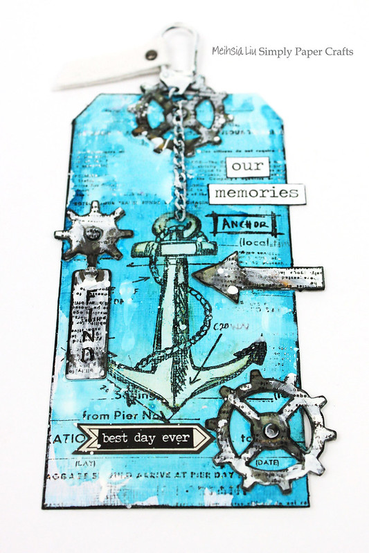 Simply paper craft meihsia Liu mixed media tag nautical tim holtz simon says stamp monday challenge