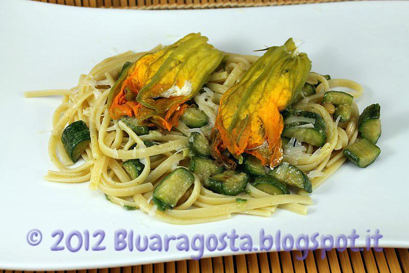 05-linguine alle zucchine con fiori di zucca ripieni al vapore