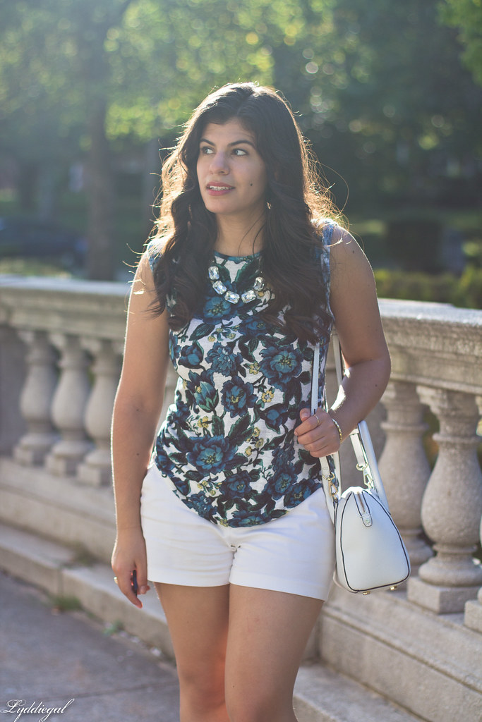 floral linen tee, white shorts, jeweled sandals.jpg
