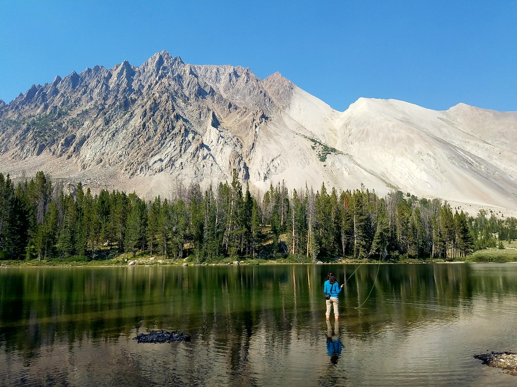 Carrie fly fishing in Lower Chamberlain Lake.