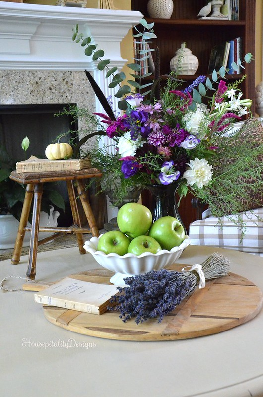 Fall Vignette - Bread Board - Lavender - Ironstone - Fall arrangement - Housepitality Designs