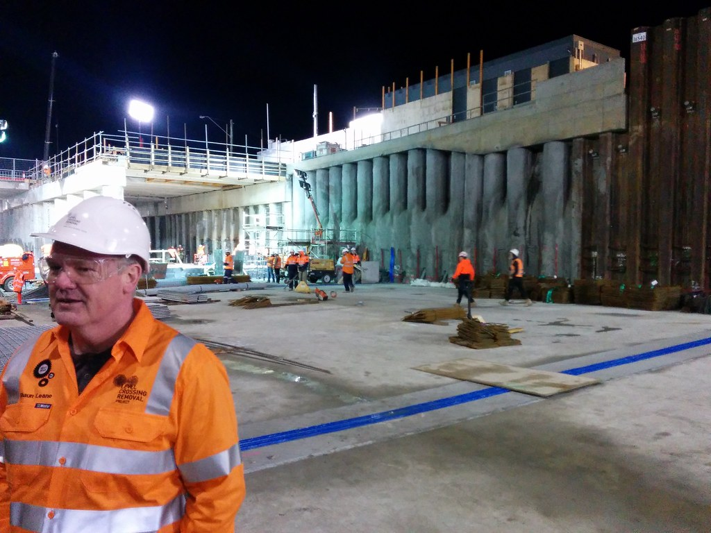 Shaun Leane (MLC for Eastern Metro) at Bentleigh station under construction