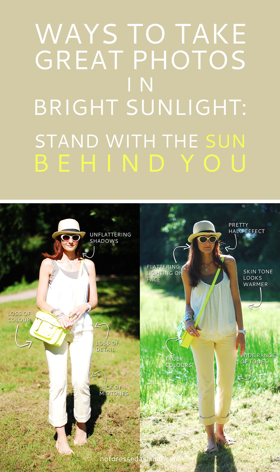 Photo Tips | Ways to Take the Best OOTD Photographs in Bright Sunlight: Stand with the sun behind you