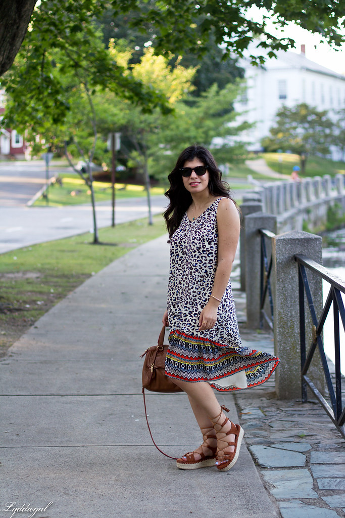 cabi leopard dress, zaful lace up sandals, tahari bag.jpg