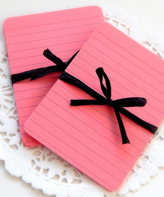Pink index cards