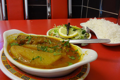 Rui shatkora and rice at Ponchokhana, Whitechapel, London E1