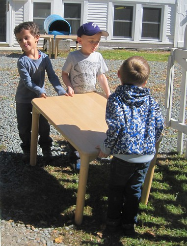 using strong muscles to move the tables