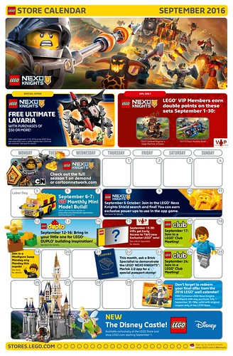 LEGO September 2016 Store Calendar Promotions & Events - The Brick ...