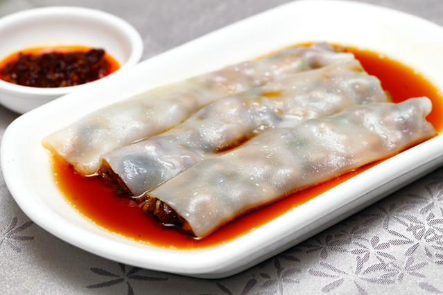 Steamed Cheong Fun with BBQ Pork
