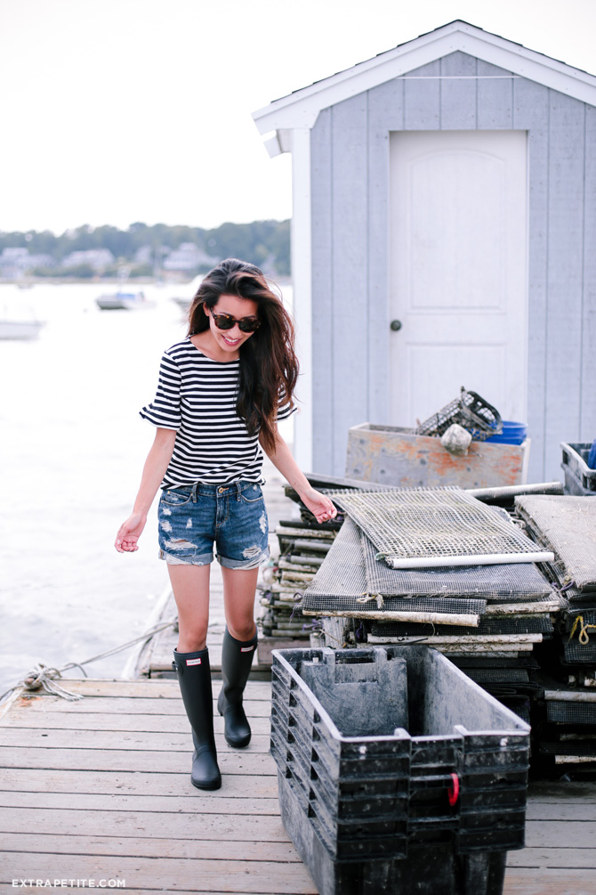 nautical farm outfit_striped shirt denim shorts hunter boots