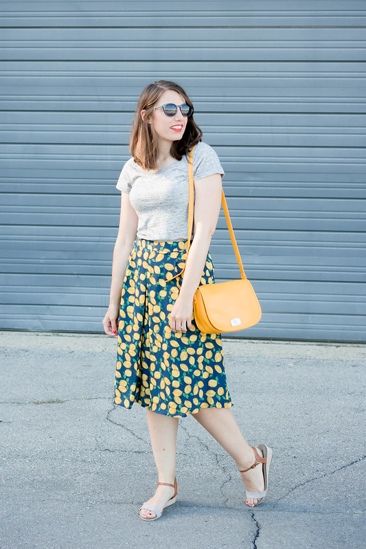 gray tee + lemon print Limited skirt + stripe Merona sandals + yellow purse | Style On Target blog