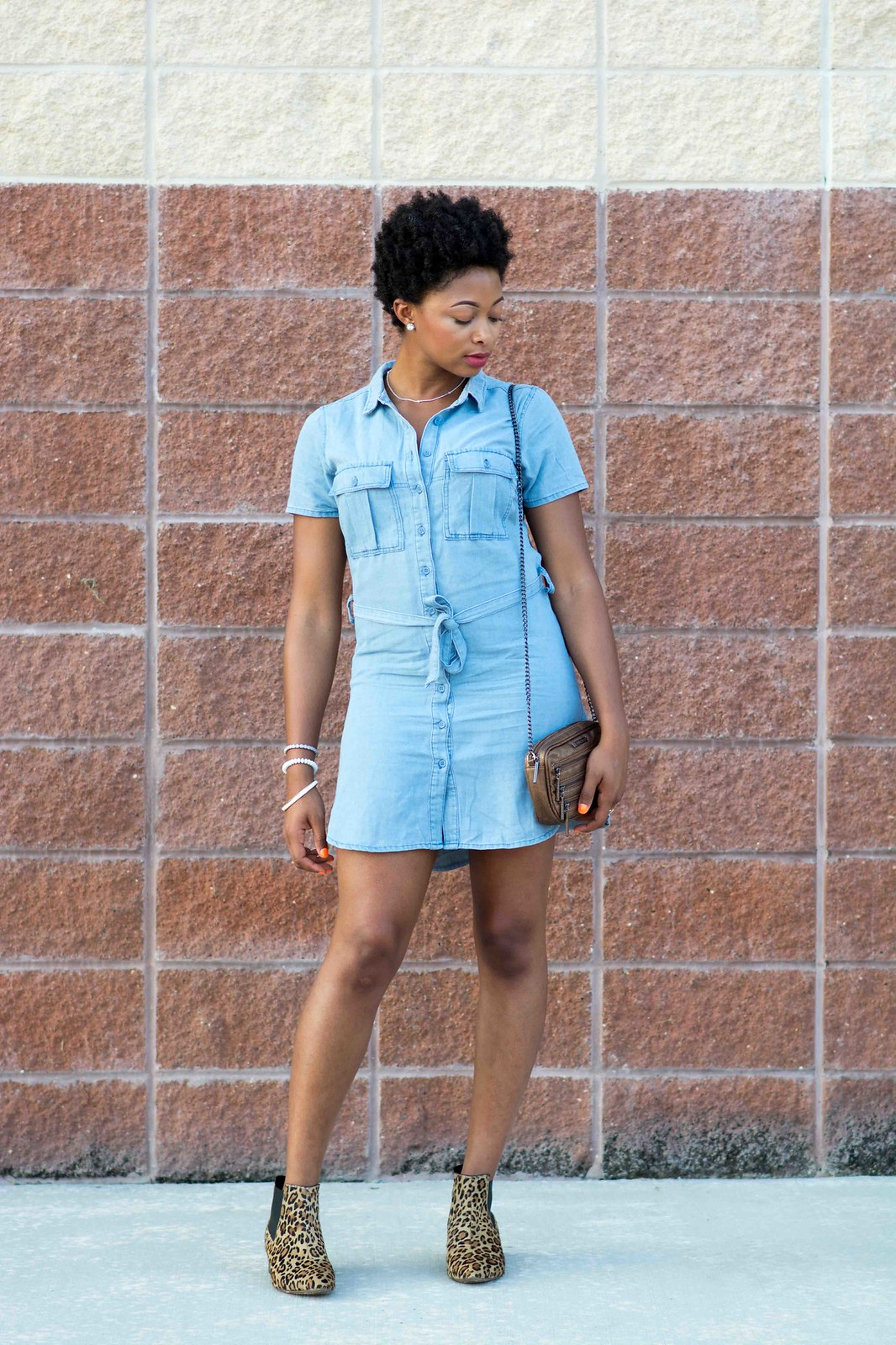 boohoo chambray shirt dress