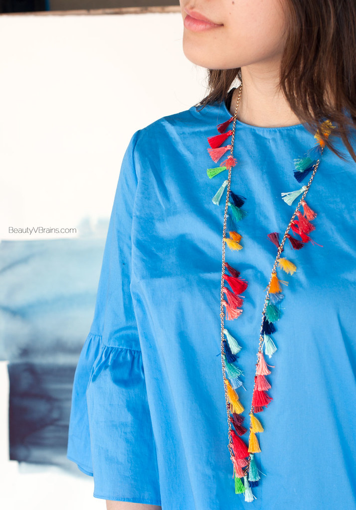 Rainbow multicolor tassel necklace