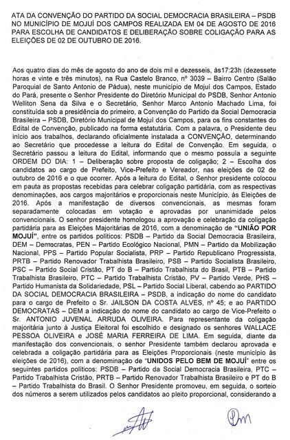 Ata da convenção PSDB - Mojuí