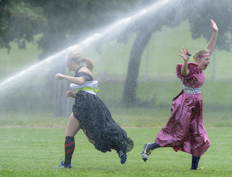 Women's Rugby in Prom Dresses with sprinklers on