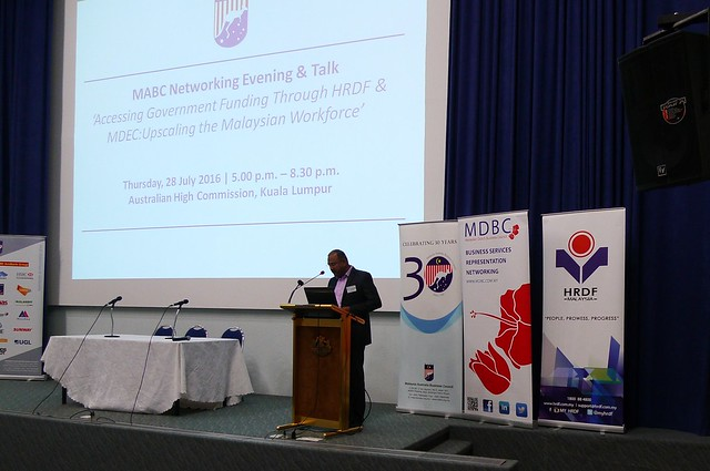 "2016 July - MABC Networking Evening & Talk ""Accessing Government Funding Through HRDF & MDEC: Upscaling the Malaysian Workforce"""