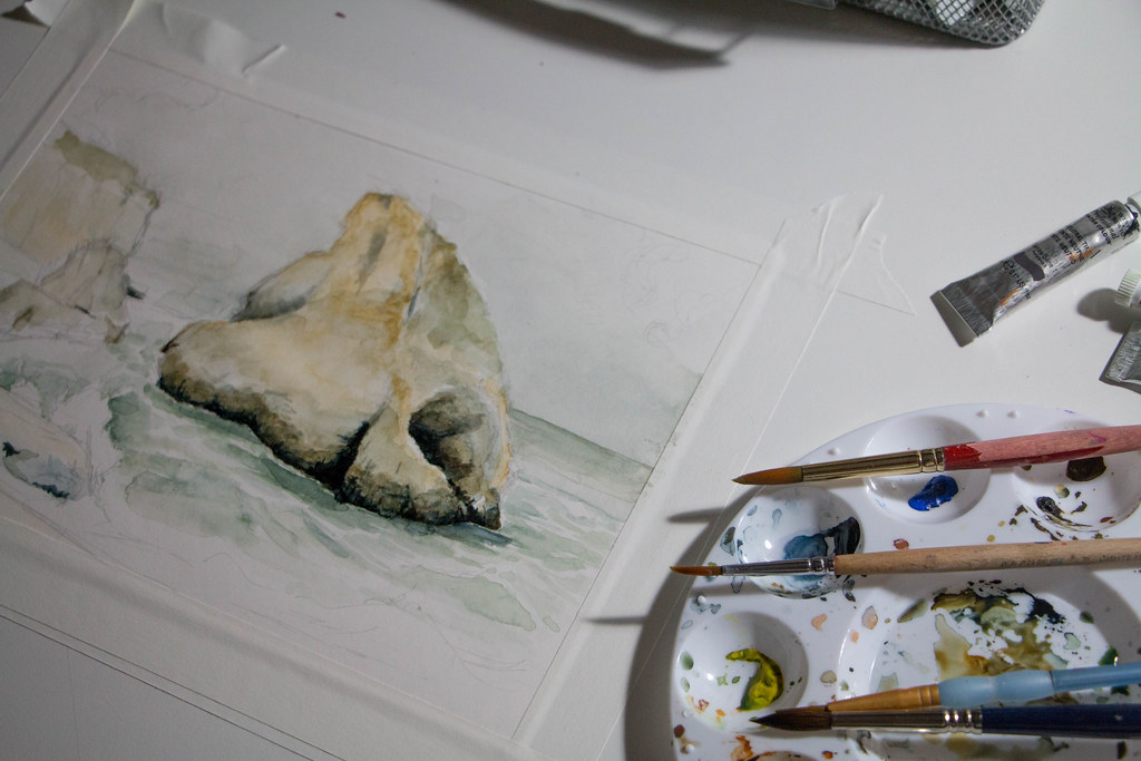 Shark Fin Cove Watercolor. Progress