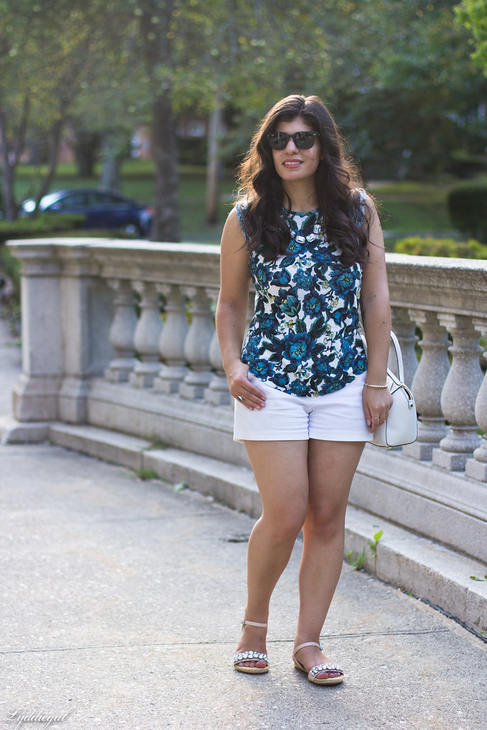 floral linen tee, white shorts, jeweled sandals-2.jpg
