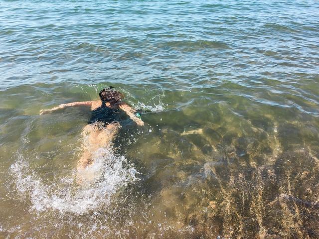 Swim away.