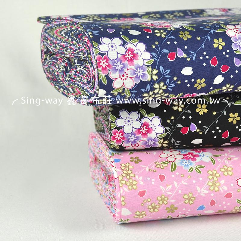 小吉野櫻 日式和風燙金花卉 手工藝DIy拼布布料 CA450601