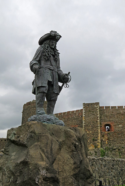 A sculpture outside the medieval castle of Carrickfergus along the Coastal Causeway Route of Ireland, UK
